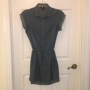 Paige drawstring denim shirt dress